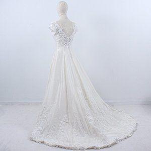 Vintage 70s 4 Floral Lace Princess Wedding Gown